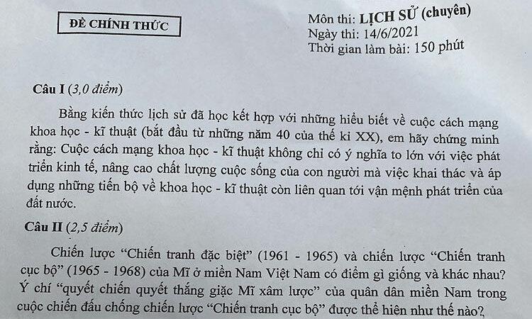 Đề thi vào lớp 10 chuyên Lịch sử ở Hà Nội