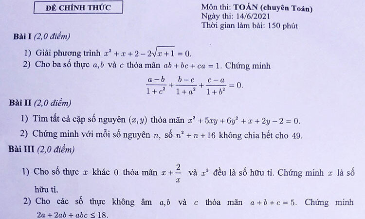 Đề thi vào lớp 10 chuyên Toán của Hà Nội