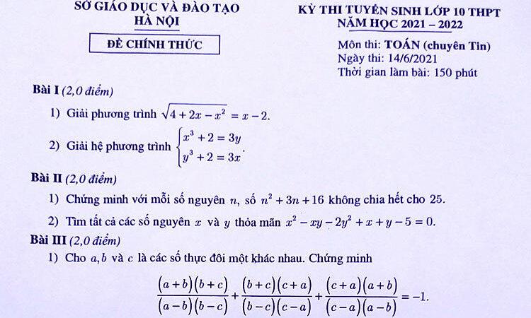 Đề Toán vào lớp 10 chuyên Tin ở Hà Nội