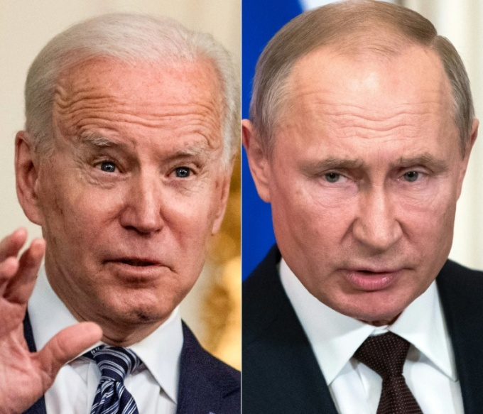 Tổng thống Mỹ Joe Biden (trái) và Tổng thống Putin. Ảnh: AFP.