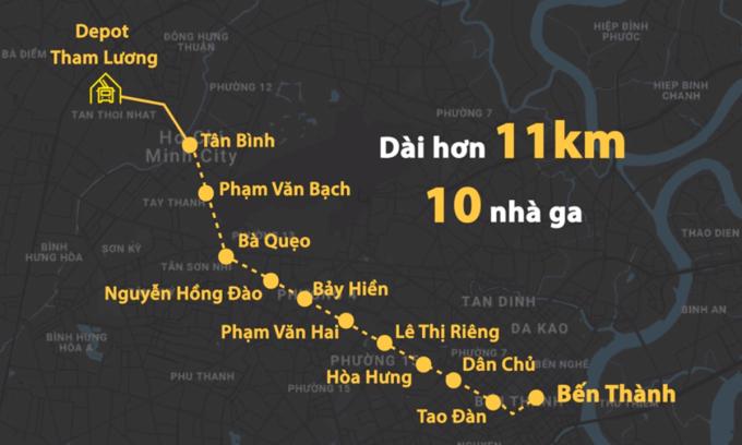 Sơ đồ hướng tuyến Metro Số 2. Đồ hoạ: Thanh Huyền.