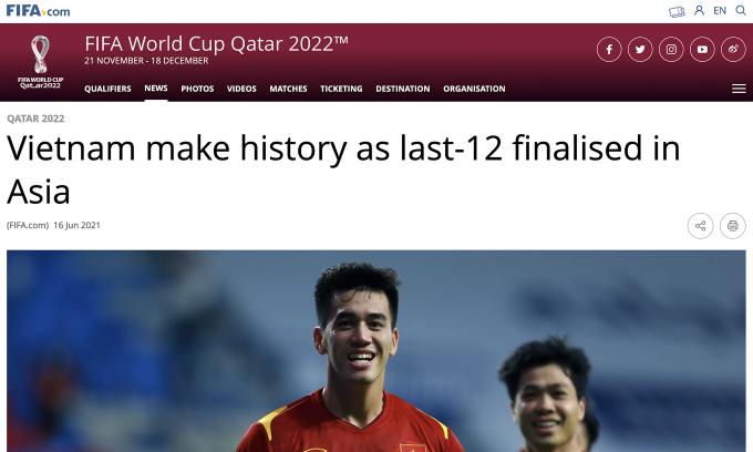 FIFA dùng tiêu đề Việt Nam làm nên lịch sử khi vào nhóm 12 đội cuối ở vòng loại World Cup khu vực châu Á, làm bài tổng hợp. Ảnh: chụp màn hình
