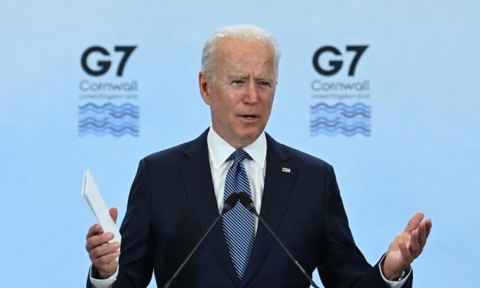Tổng thống Mỹ Joe Biden phát biểu trong cuộc họp báo tại hội nghị thượng đỉnh G7 ở Cornwall, Anh, hôm 13/6. Ảnh: AFP.