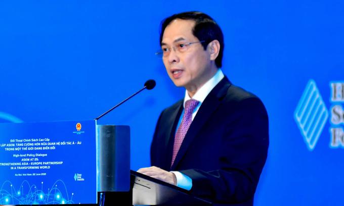 Bộ trưởng Ngoại giao Bùi Thanh Sơn phát biểu tại phiên khai mạc Đối thoại chính sách cao cấp ASEM tại Hà Nội hôm nay. Ảnh: Bộ Ngoại giao.