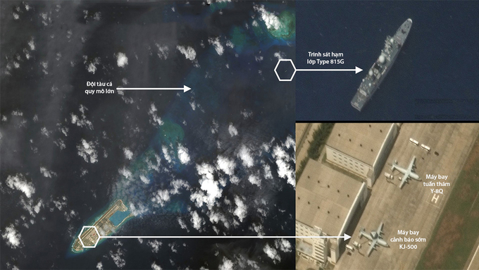 Tàu trinh sát và máy bay quân sự Trung Quốc hiện diện trái phép ở quần đảo Trường Sa của Việt Nam ngày 9/6. Ảnh: Maxar.