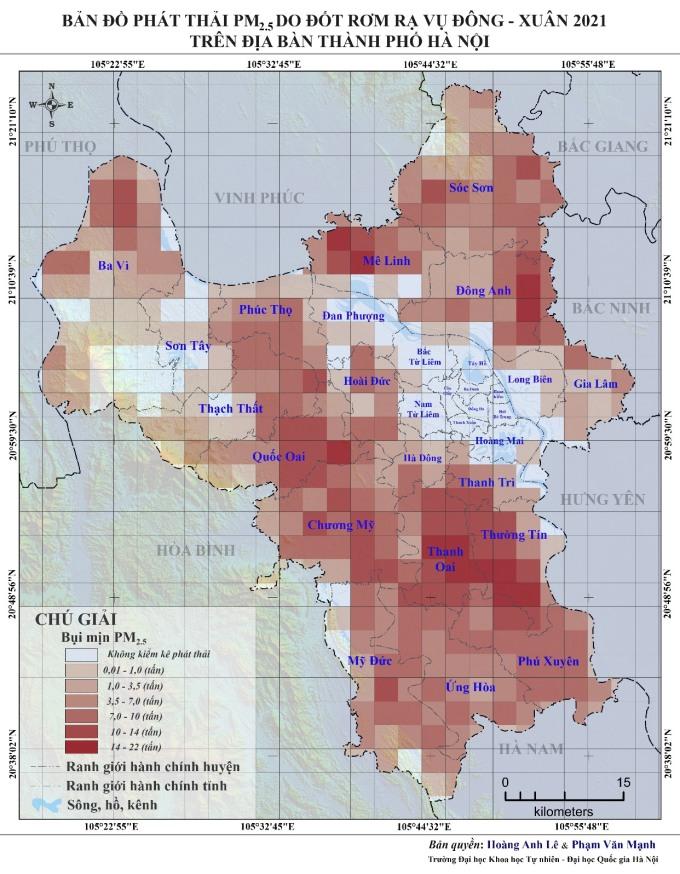 Bản đồ phát thải PM 2.5 do đốt rơm rạ ở Hà Nội. Ảnh: Đại học Quốc gia Hà Nội