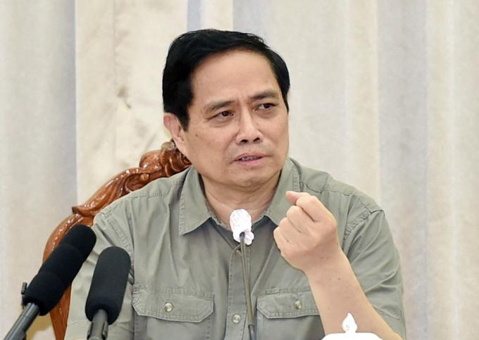 Thủ tướng Phạm Minh Chinh phát biểu tại buổi làm việc với lãnh đạo TP HCM chiều 11/7. Ảnh: VGP.