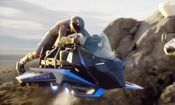Thiết kế môtô bay cất hạ cánh thẳng đứng Speeder. Ảnh: JetPack Aviation.