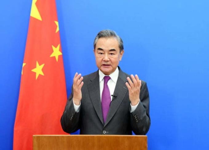 Ngoại trưởng Trung Quốc Vương Nghị phát biểu cho hội nghị trực tuyến kỷ niệm 70 năm quan hệ Trung Quốc - Pakistan ngày 7/7. Ảnh: BNG Trung Quốc.