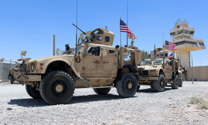 Xe thiết giáp Mỹ tại căn cứ Al-Asad ở Iraq hôm 4/7. Ảnh: US Army.