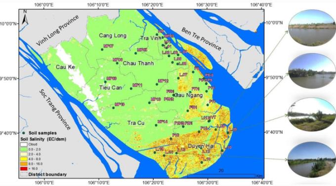 Chỉ số nhiễm mặn được trích xuất và phân tích từ hình ảnh vệ tinh. Ảnh: Nhóm nghiên cứu