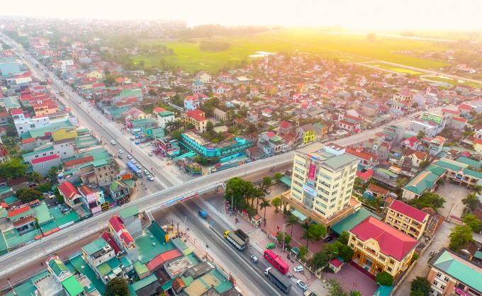Một góc trung tâm huyện Quỳnh Lưu. Ảnh: Nguyễn Sách