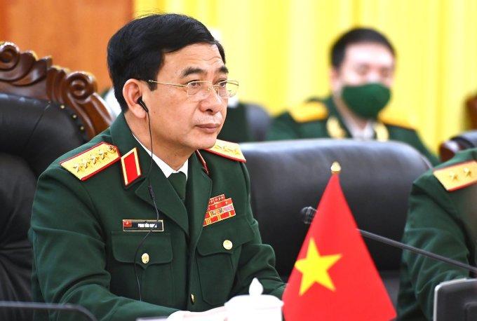 Đại tướng Phan Văn Giang, Bộ trưởng Quốc phòng Việt Nam tại cuộc hội đàm với Bộ trưởng Quốc phòng Mỹ. Ảnh: Giang Huy