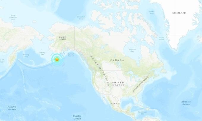 Vị trí xảy ra động đất ngoài khơi bang Alaska của Mỹ. Đồ họa: USGS.