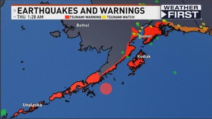 Vị trí xảy ra động đất (chấm tròn) ngoài khơi Alaska, Mỹ hôm 28/7. Đồ họa: Đồ họa: Weather First.