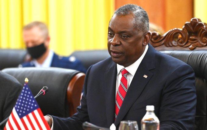Ông Lloyd Austin, Bộ trưởng Quốc phòng Mỹ phát biểu tại hội đàm. Ảnh: Giang Huy