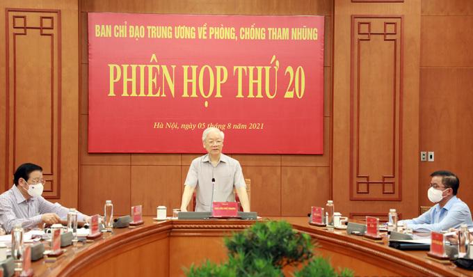 Tổng bí thư Nguyễn Phú Trọng, Trưởng Ban Chỉ đạo Trung ương về phòng, chống tham nhũng phát biểu tại phiên họp. Ảnh: Noichinh.vn