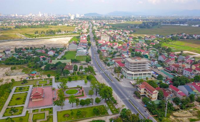 Một góc trung tâm huyện Hưng Nguyên. Ảnh: Nguyễn Đạo