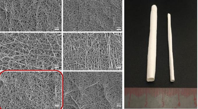 Kết cấu sợi nano của mạch máu nhân tạo nhìn bằng kính hiển vi điện tử. Ảnh: NNC.