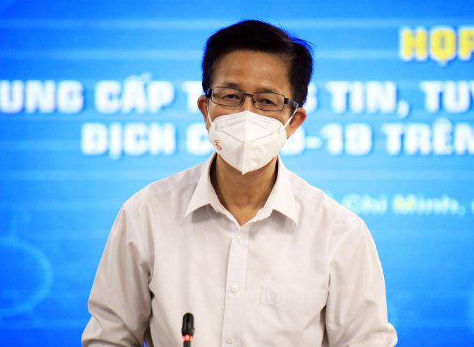 Ông Phạm Đức Hải, Phó ban chỉ đạo phòng chống Covid-19 TP HCM tại buổi họp báo chiều 29/8. Ảnh: Hữu Công