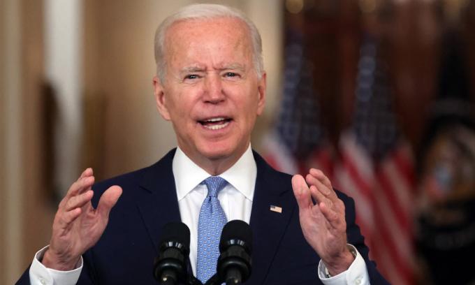 Tổng thống Mỹ Joe Biden phát biểu tại Nhà Trắng hôm 31/8. Ảnh: AFP.