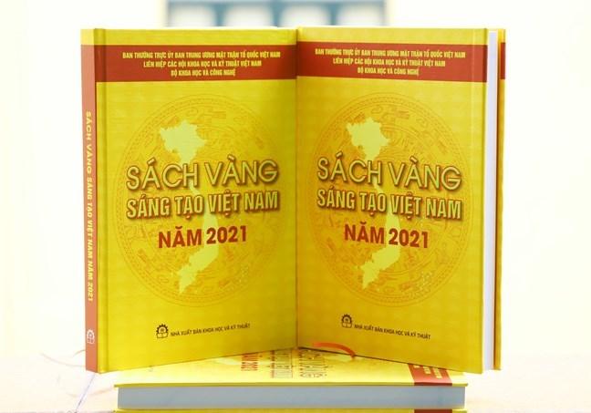 Ảnh bìa Sách vàng Sáng tạo Việt Nam năm 2021. Ảnh: Ủy ban Trung ương Mặt trận Tổ quốc Việt Nam