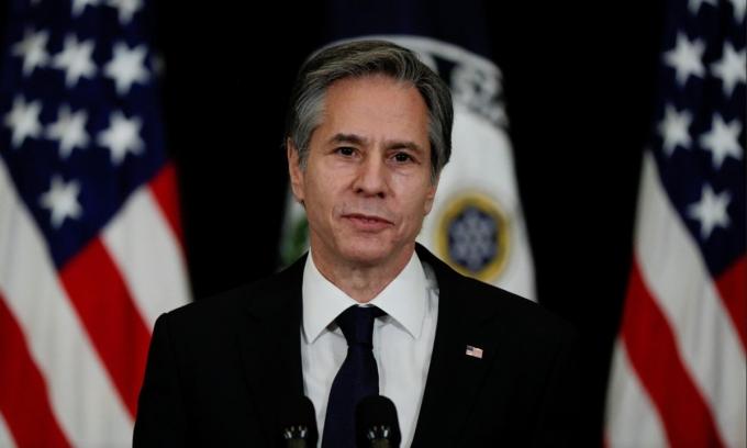 Ngoại trưởng Mỹ Antony Blinken phát biểu tại trụ sở Bộ Ngoại giao Mỹ ở thủ đô Washington ngày 4/2. Ảnh: Reuters