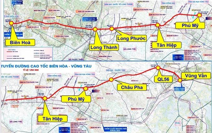 Sơ đồ dự kiến cao tốc Biên Hòa - Vũng Tàu. Ảnh:Sở Giao thông Vận tải Bà Rịa - Vũng Tàu.