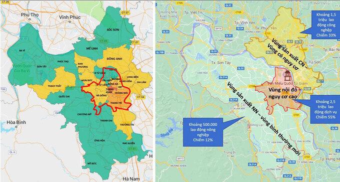 Sơ đồ phương án phân vùng phòng, chống dịch Covid-19 thành phố Hà Nội thực hiện từ ngày 6/9 đến ngày 21/9.