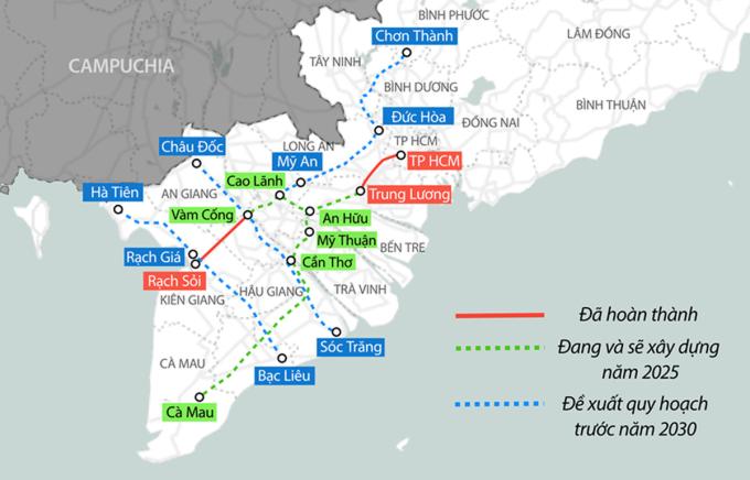 Hướng tuyến cao tốc An Hữu - Cao Lãnh trong quy hoạch các cao tốc khu vực Đồng bằng sông Cửu Long. Đồ hoạ: Thanh Nhàn