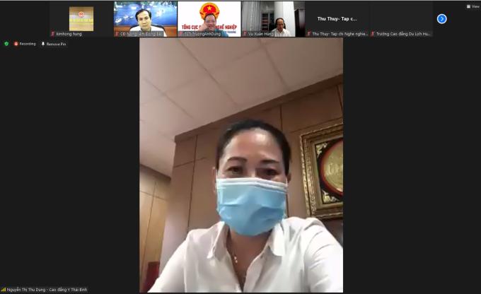 TS Nguyễn Thị Thu Dung tại buổi hội nghị, ngày 8/9. Ảnh: Tổng Cục giáo dục nghề nghiệp