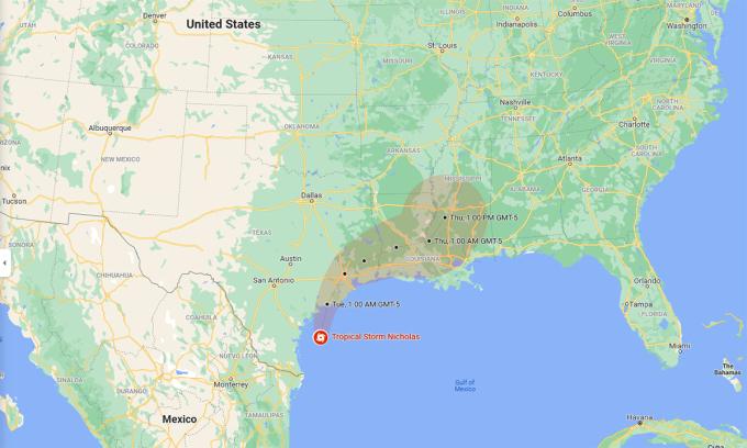 Dự báo hướng đi và vùng ảnh hưởng của bão Nicholas. Đồ họa: Google.