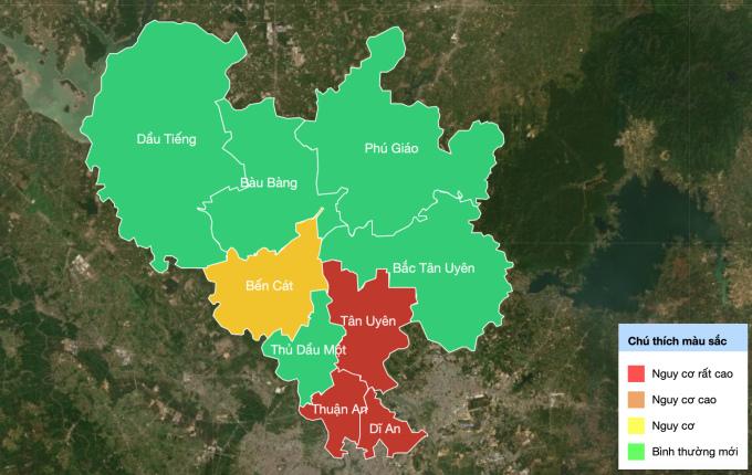 Các vùng xanh, đỏ vàng của tỉnh Bình Dương: Ảnh: binhduong.gov.vn