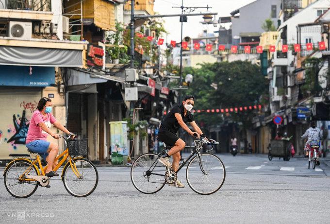 Khu vực trung tâm TP Hà Nội rạng sáng 24/7, khi thành phố bắt đầu cách ly xã hội. Ảnh: Giang Huy