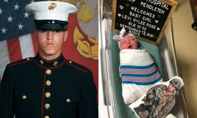 Rylee McCollum (trái), một trong 13 lính Mỹ chết ở Kabul, và con gái mới chào đời của anh. Ảnh: AP.