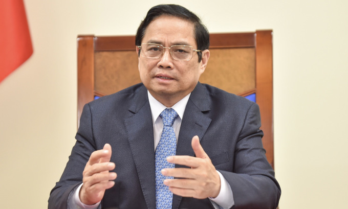 Thủ tướng Phạm Minh Chính trong cuộc điện đàm ngày 16/9. Ảnh: BNG.