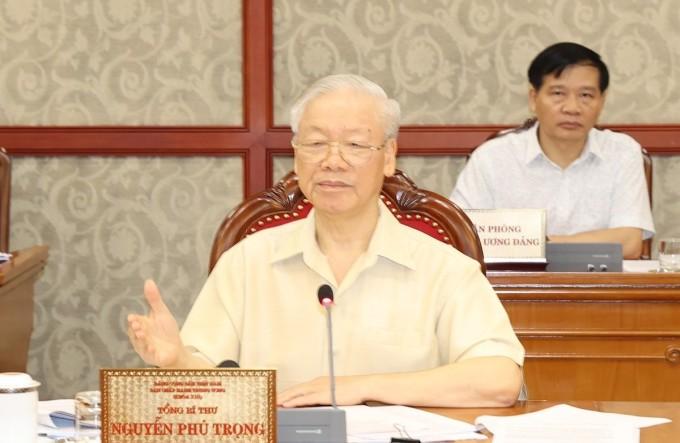 Tổng Bí thư Nguyễn Phú Trọng phát biểu kết luận cuộc họp, sáng 17/9. Ảnh: TTXVN