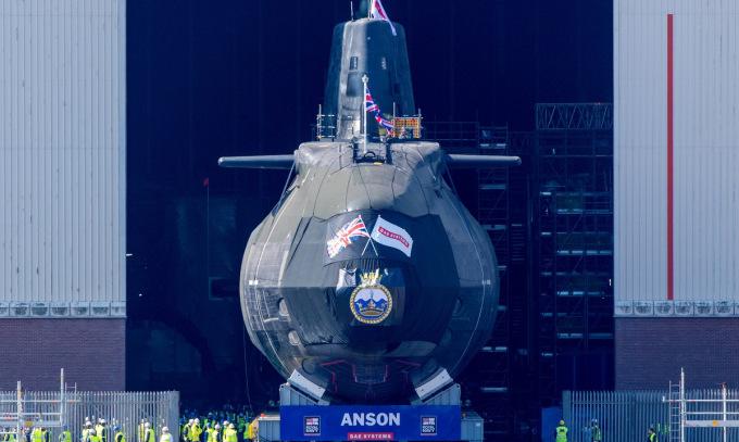 Tàu ngầm HMS Anson trước lễ hạ thủy hồi tháng 4. Ảnh: BQP Anh.