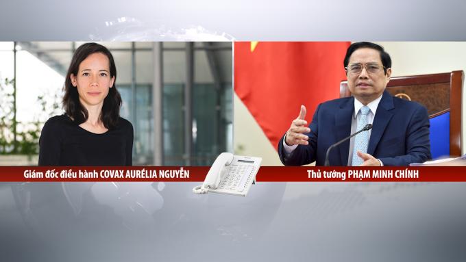 Thủ tướng Phạm Minh Chính họp trực tuyến với bà Aurélia Nguyen, Giám đốc điều hành Chương trình Covax, chiều 20/9. Ảnh: Nhật Bắc
