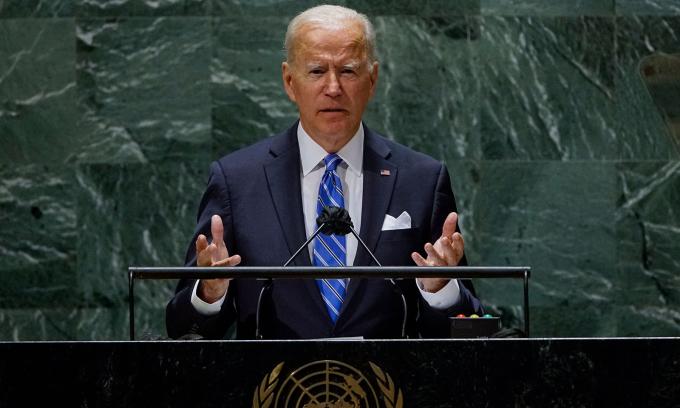 Tổng thống Mỹ Joe Biden phát biểu trước Đại Hội đồng Liên Hợp Quốc ở New York hôm nay. Ảnh: AFP.
