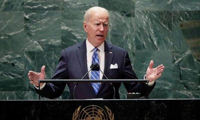 Tổng thống Mỹ Joe Biden phát biểu tại phiên họp Đại hội đồng Liên Hợp Quốc ở New York ngày 21/9. Ảnh: AFP.