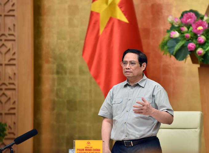 Thủ tướng Phạm Minh Chính chủ trì họp trực tuyến Ban chỉ đạo quốc gia phòng chống Covid-19 với các địa phương, sáng 25/9. Ảnh: Nhật Bắc