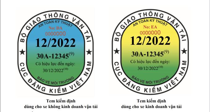 Thiết kế mẫu tem đăng kiểm cho ôtô từ 1/10 theo quy định tại Thông tư 16/2021 của Bộ GTVT. Ảnh chụp từ Thông tư 16/2021