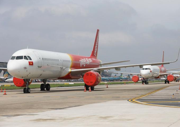 Máy bay Vietjet Air đỗ tại sân bay Nội Bài vào tháng 9. Ảnh: Ngọc Thành.