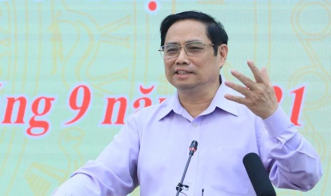 Thủ tướng Phạm Minh Chính phát biểu tại buổi làm việc với Mặt trận Tổ quốc Việt Nam chiều 29/9. Ảnh: Hoàng Phong