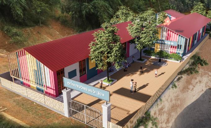 Điểm trường ở Sơn La được xây mới với sự chung tay của người dùng Ví MoMo. Ảnh: Thiết kế.