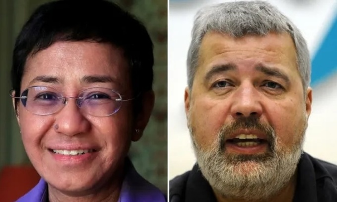Maria Ressa (trái) và Dmitry Muratov, hai nhà báo được trao giải Nobel Hòa bình năm nay. Ảnh: AFP, Reuters.