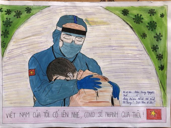 Tranh dự thi của em Đoàn Trung Nguyên, Hà Tĩnh.