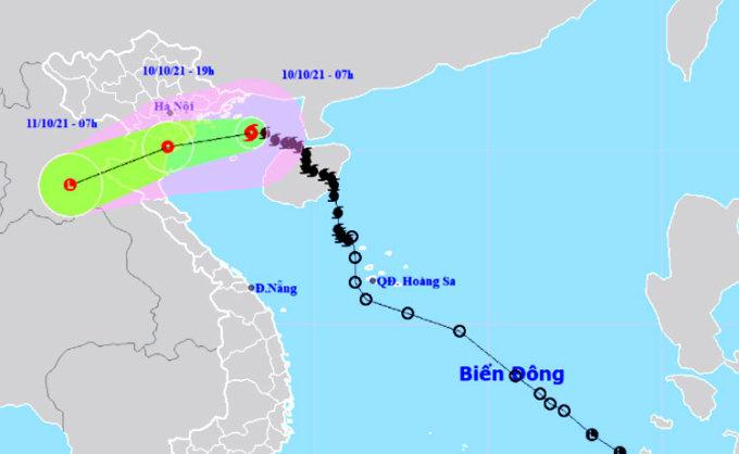 Dự kiến hướng đi, vùng ảnh hưởng của bão Lionrock. Ảnh: NCHMF