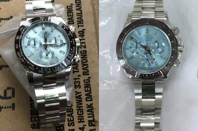 Đồng hồ Rolex thật (phải) và chiếc giả. Ảnh: Công an cung cấp.
